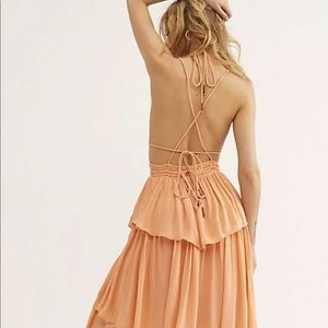 Free People MaxiDress Halter Tiered Strappy Back L